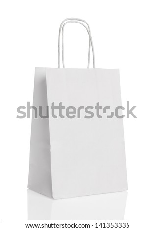 White paper shopping bag isolated. - stock photo