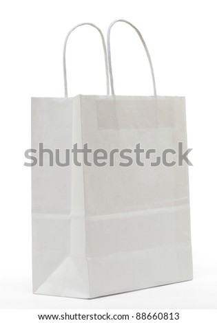 White paper shopping bag on a white background - stock photo