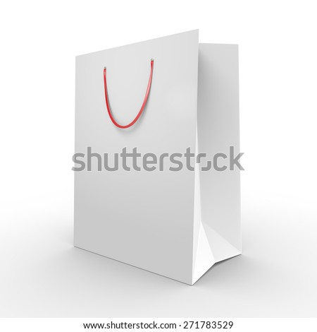 White paper shopping bag or grocery bag with carrying handles - stock photo