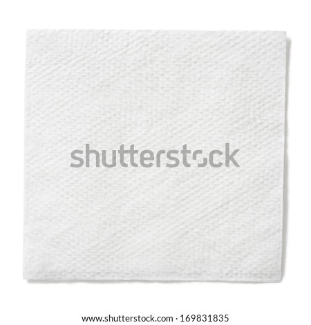 white paper square napkin isolated with clipping path included - stock photo