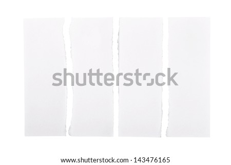White paper strips torn apart and isolated over a white background - stock photo