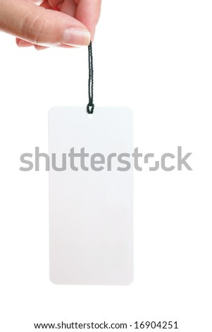 White paper tag isolated on white - stock photo