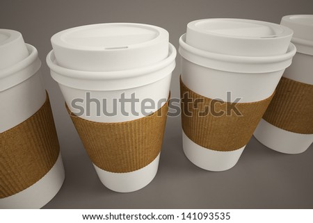 White paper take-away coffee cups with brown holding stripe on a brown background. Suitable for cafeterias, representing breakfast, morning and freshly made coffee. - stock photo
