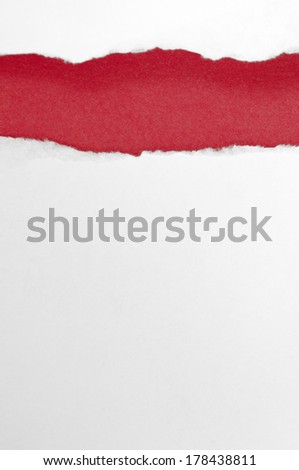 White paper torn beautiful. Beautiful red background - stock photo