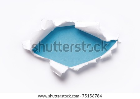 white paper torn outside blue paper - stock photo
