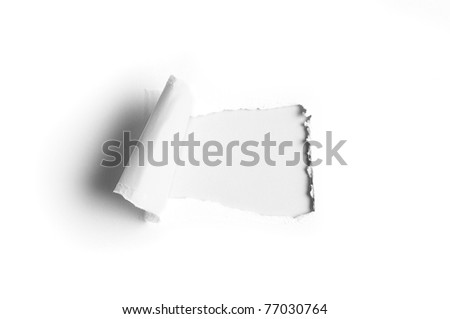 white paper with a hole and copy space for text - stock photo