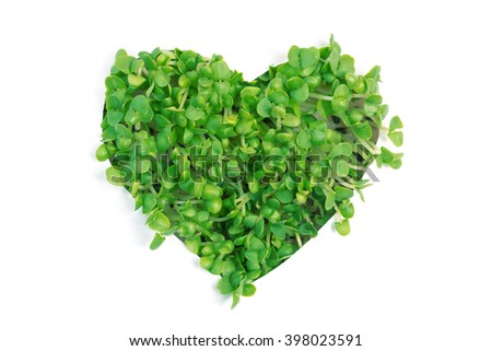 White paper with a hole in the form of heart from which the visible green shoots - stock photo