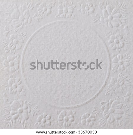 white paper with beautiful floral texture - stock photo