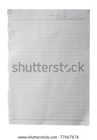 White paper with lines texture background isolated on white background - stock photo