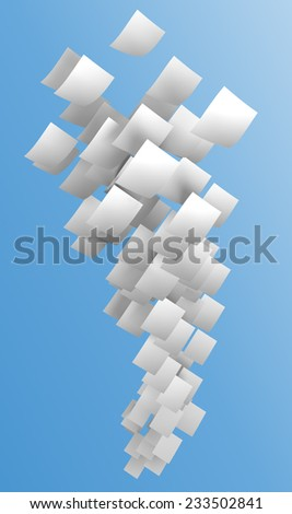 white papers flying on blue sky, digitally generated image.