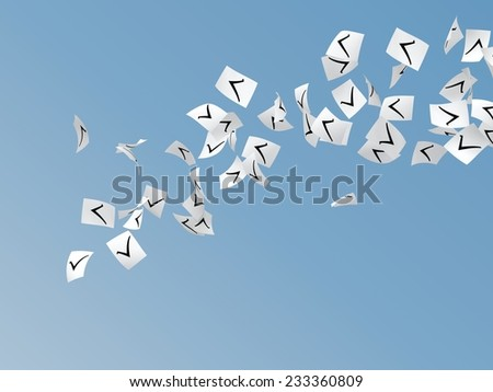 white papers with check mark flying on sky