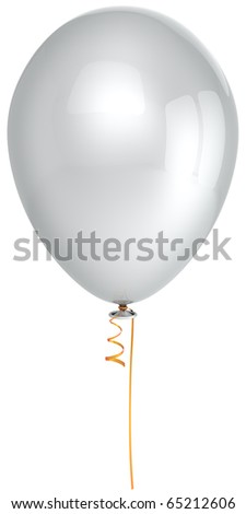 White party balloon single clean blank colorless birthday holiday new years eve celebration christmas anniversary graduation retirement life events greeting card design element 3d render isolated - stock photo