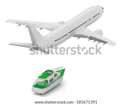 White passenger airliner and white promenade sailboat. Top view isolated on white - stock photo