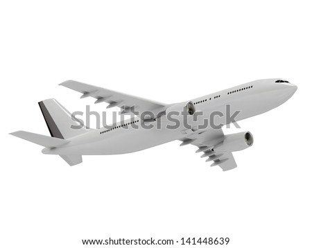 White passenger airliner flies in the sky - stock photo