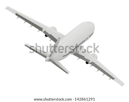 White passenger airliner gains altitude. Top view isolated on white
