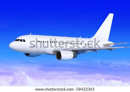white passenger airplane in the blue sky landing away - stock photo