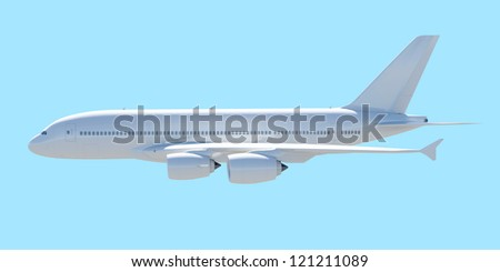 White passenger plane. A side view. Isolated render on a blue background - stock photo