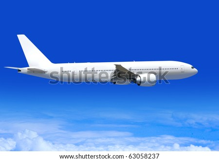 white passenger plane flies highly over clouds of aerosphere - stock photo