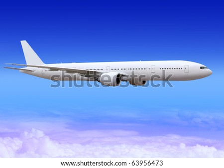white passenger plane flies highly over clouds of aerosphere with path - stock photo