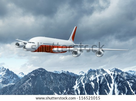 White passenger plane flying in the blue sky above the mountains with snow tops - stock photo