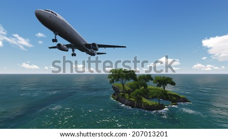 White passenger plane flying in the  sky made   in 3d software - stock photo