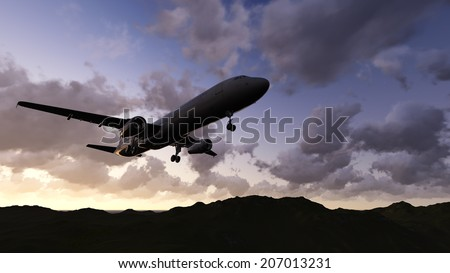 White passenger plane flying in the  sky made   in 3d software