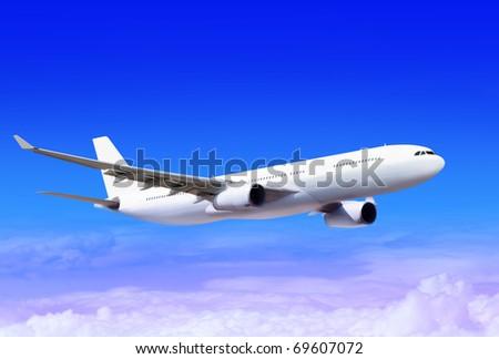 white passenger plane in the blue sky landing away - stock photo