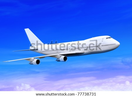 white passenger plane is landing away in the blue sky - stock photo