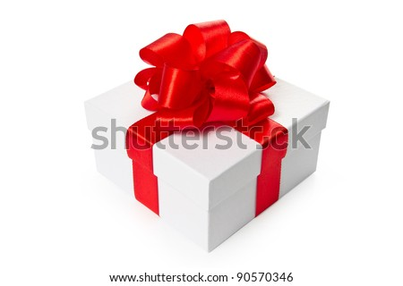 White pasteboard square gift box with red satin bow and ribbon isolated on white background with clipping path. Isometric view.