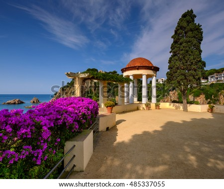 White Pavilion in Famous Botanical Garden in Blanes, Catalonia, Spain