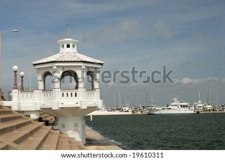 White pavilion on the promenade of Corpus Christi, TX USA - stock photo