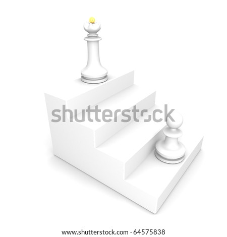 White pawn and queen on white ladder - stock photo