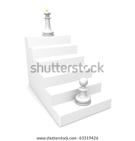 white pawn and white queen. Career opportunities. - stock photo