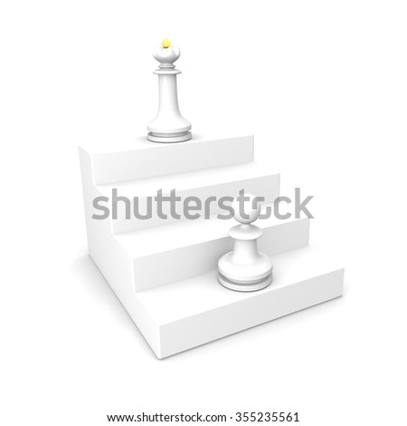 White pawn and white queen on white ladder