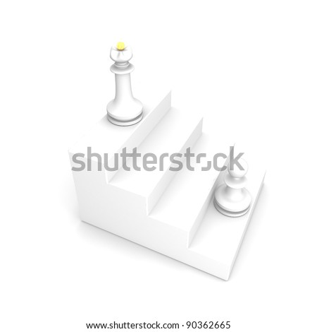 White pawn and white queen on white ladder career - stock photo