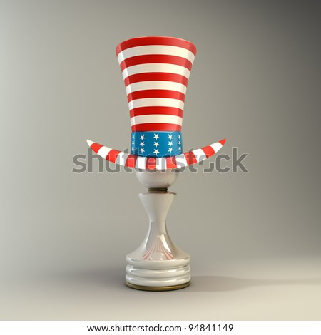 white Pawn in a  TOP hat of usa High resolution 3D - stock photo