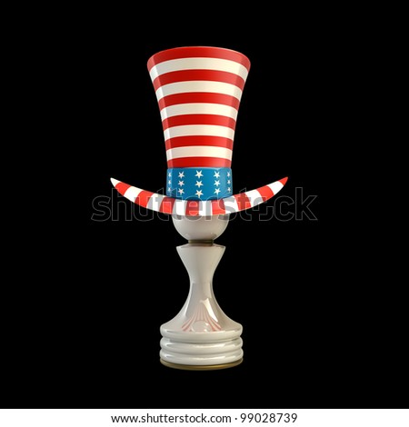 white Pawn in a TOP hat of usa isolated on black background High resolution 3D - stock photo