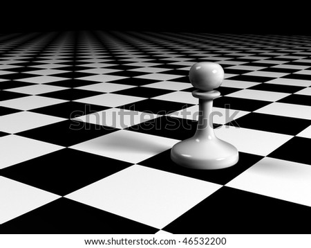 white pawn on a huge chessboard - stock photo