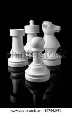 white pawn, rook, knight and bishop chess - stock photo