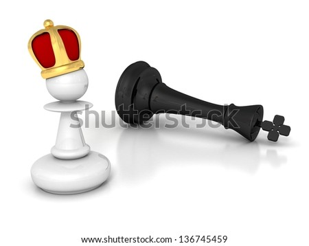 white pawn winner with golden crown and defeated black king - stock photo