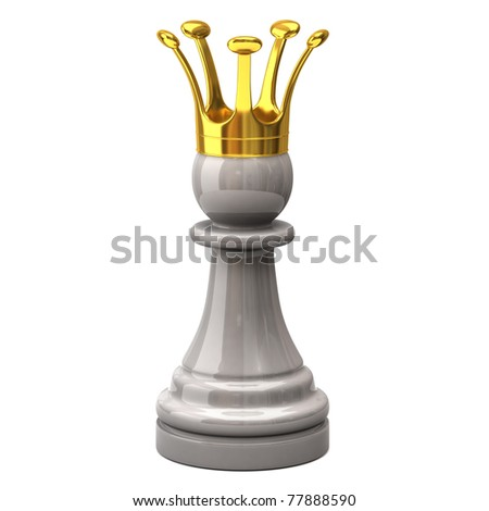 White pawn with a golden crown - stock photo