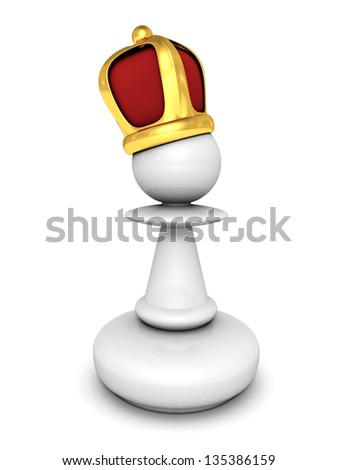 White pawn with a king crown - stock photo