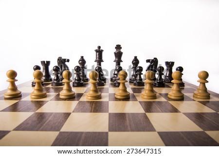 white pawns chess pawns and black - stock photo