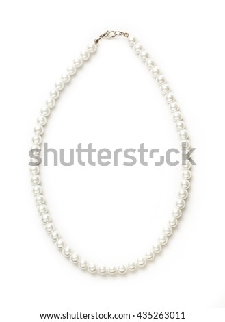 White pearl necklace of one string closeup