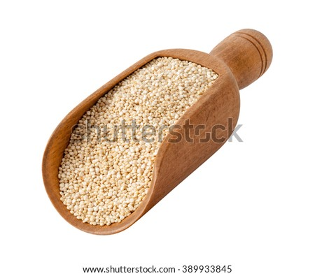 White Pearl Quinoa in a Wood Scoop. The image is a cut out, isolated on a white background, with a clipping path. The image is in full focus, front to back. - stock photo