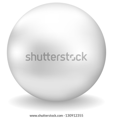 white pearl with shadow on white background - stock photo
