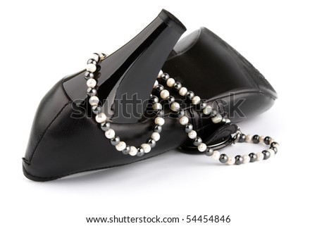 White pearls and black stone beads on High Heels Shoe
