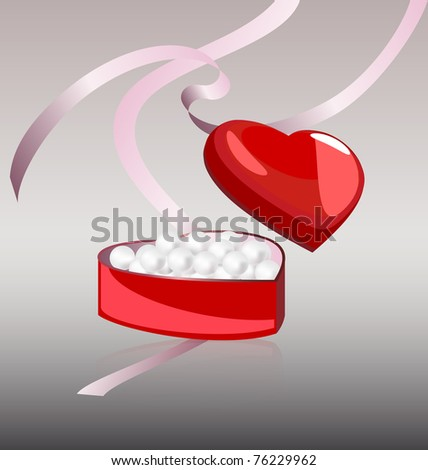 white pearls in the red box - stock photo