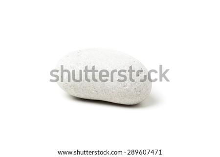 white pebble isolated on white background - stock photo
