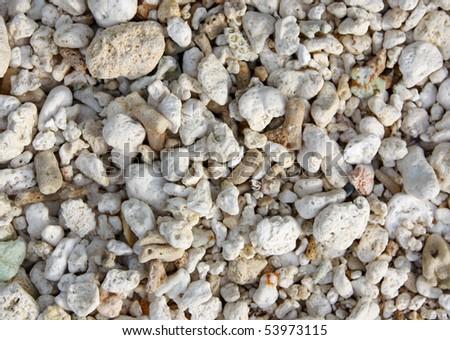 White pebble stones closeup texture - stock photo